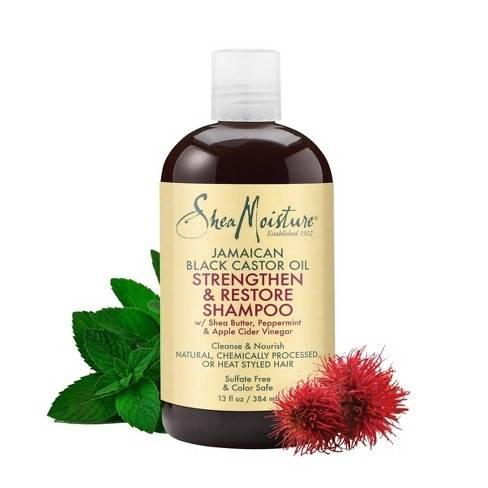 Shea Moisture Jamaican Black Castor Oil Shampoo Възстановяващ ускоряващ растежа на увредената и третирана  коса шампоан 384 ml
