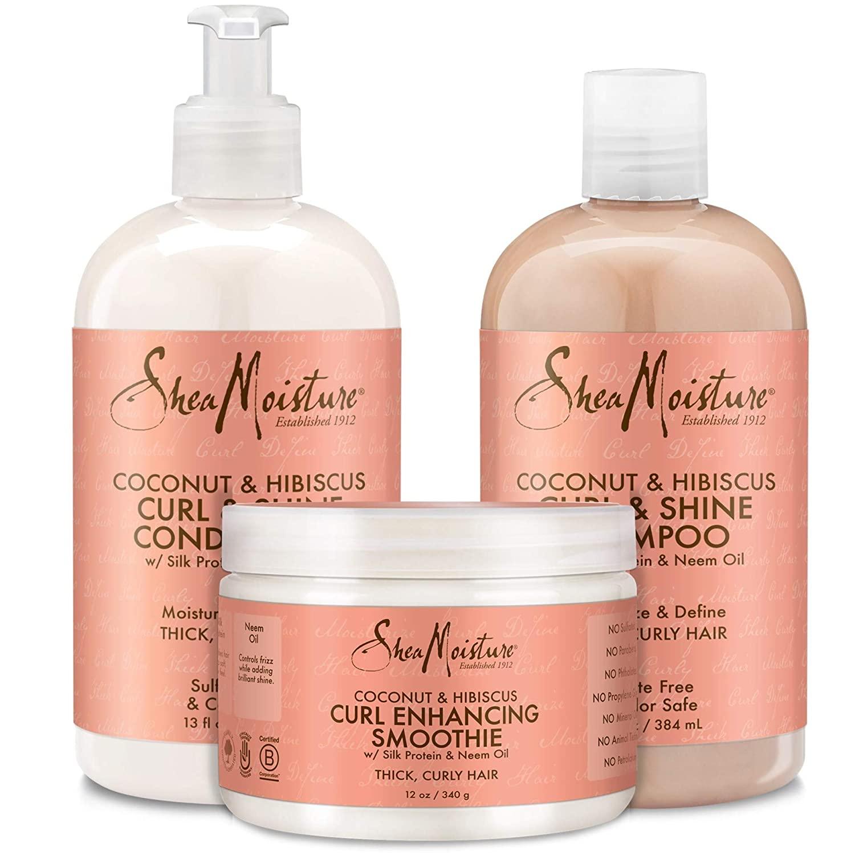 SHEA MOISTURE COCONUT & HIBISCUS Комплект подхранващи шампоан, балсам и смути за плътна гъста  къдрава коса